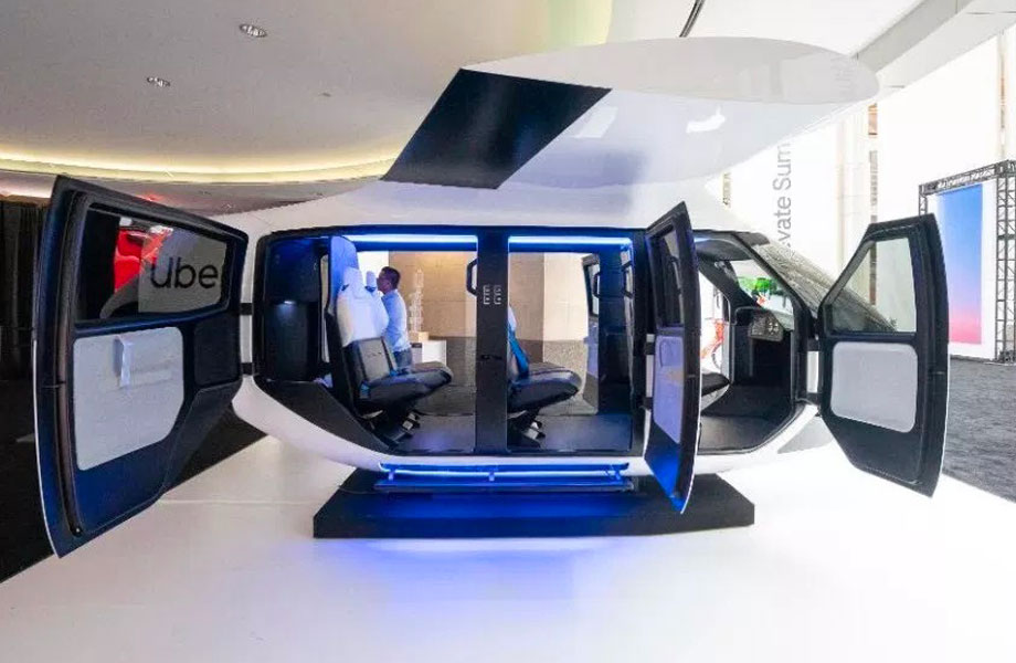 ▲ A prototype cabin on show at the 2019 Uber Elevate Summit.