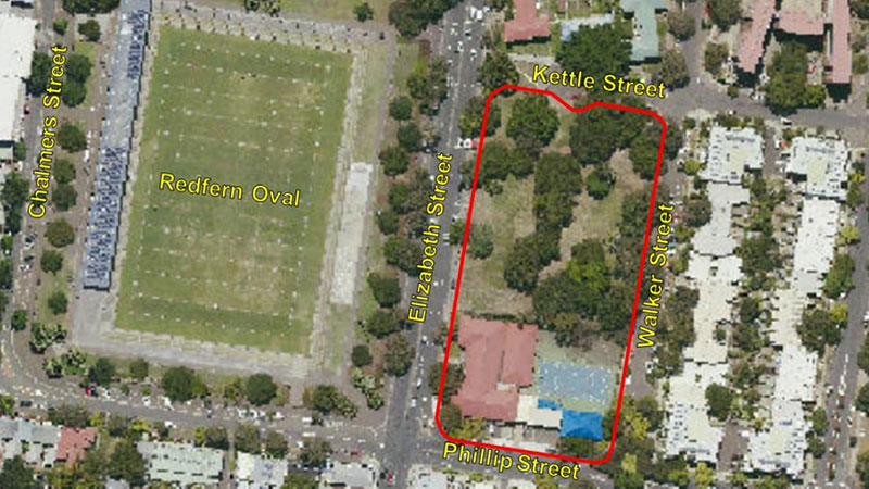 ▲ The 10,850sq m Redfern site fronts Kettle Street to the north, Walker Street to the east and Phillip Street to the south. 600-660 Elizabeth Street build to rent project.