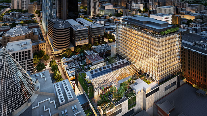▲ The new timber office tower will rise above the 300 Lonsdale Street Melbourne Central mall. Image: ARM Architecture/Scharp