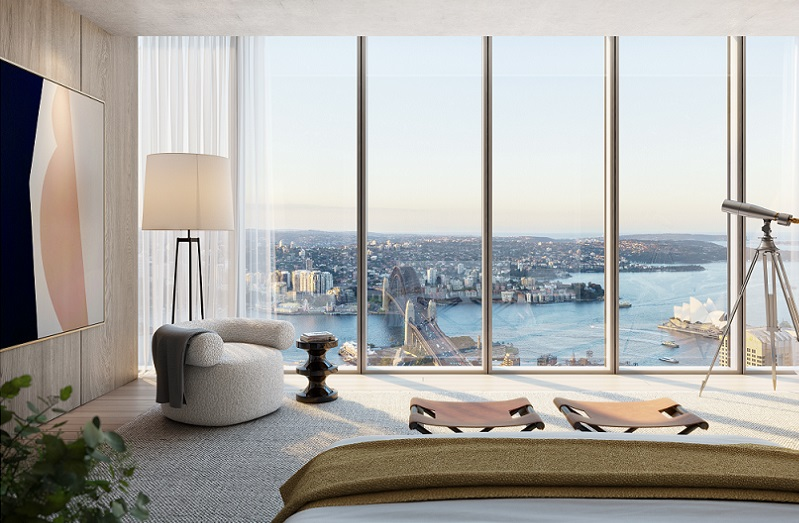 mid sized image of the interior of a luxury penthouse overlooking Sydney Harbour.