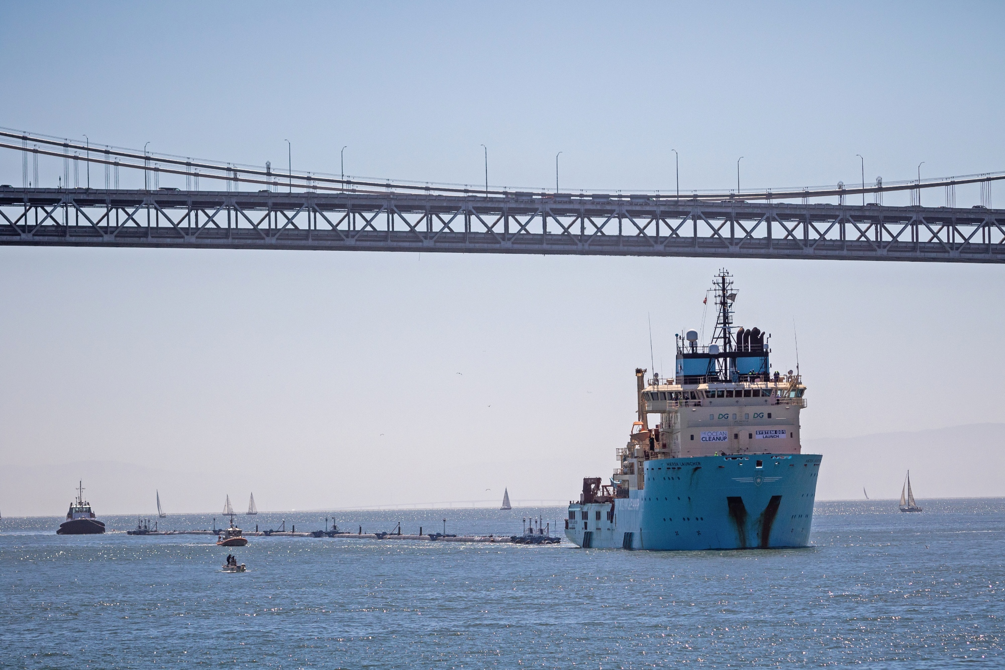 The cleanup system will travel 240 nautical miles offshore for a two-week trial before continuing its journey toward the Great Pacific Garbage Patch, 1200 nautical miles offshore, to start the cleanup.