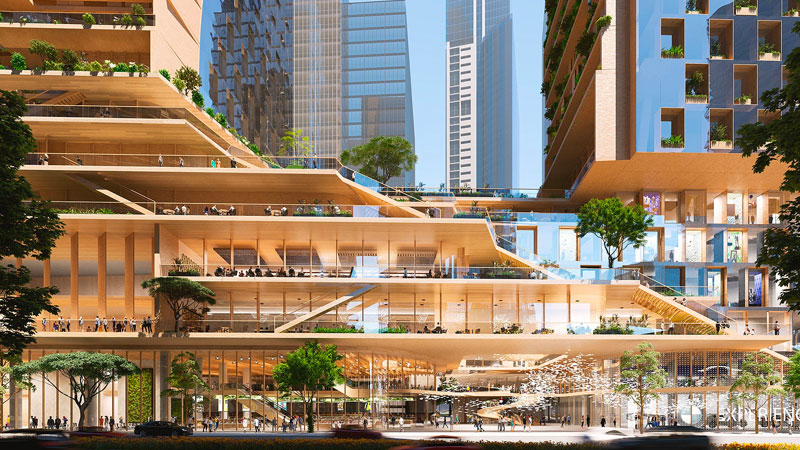 """▲ The dual tower project, also known as """"Green Spine"""", is defined by a pair of twisting towers organised around a vertical city of green spaces, networked platforms, terraces and verandas. Image: UNStudio & Cox Architecture."""