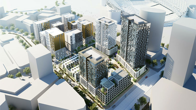 ▲ JQZ plans with Vivacity, the new development and ANZ Stadium nearby.