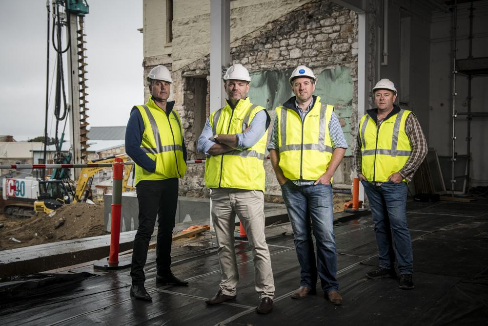 Continental Hotel General  Manager Duncan Thomson, JV partner Julian Gerner, Steller CEO Simon Pitard, and Stellar construction manager Shannon Hill.