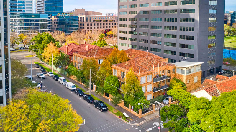 ▲ Forward momentum: Samuel Property paid $21 million for this 1950s block of flats on St Kilda Road in June.