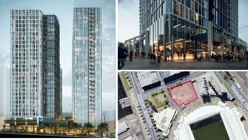 The two proposed build-to-rent towers designed by Cox Architecture have hospitality offerings within the podium.