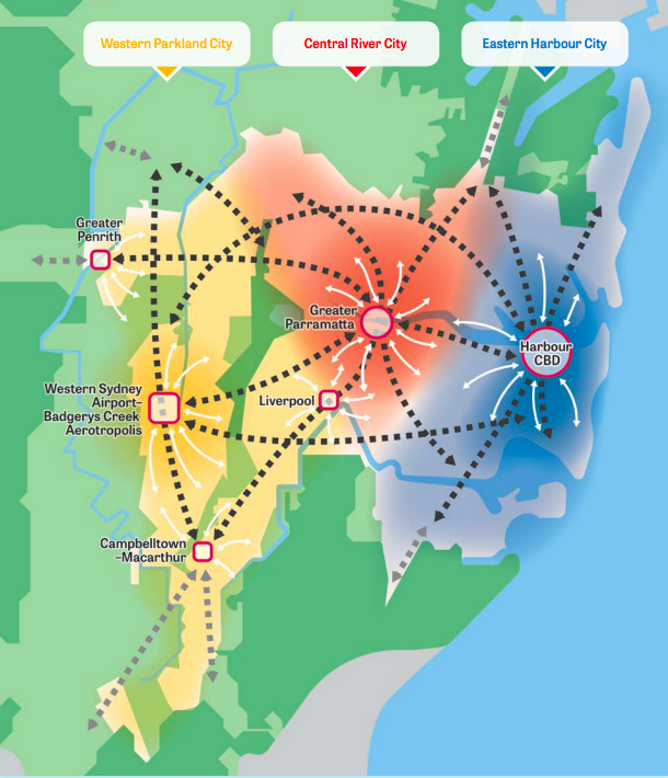 By 2056, Sydney will be divided into three cities, with Parramatta at its centre.