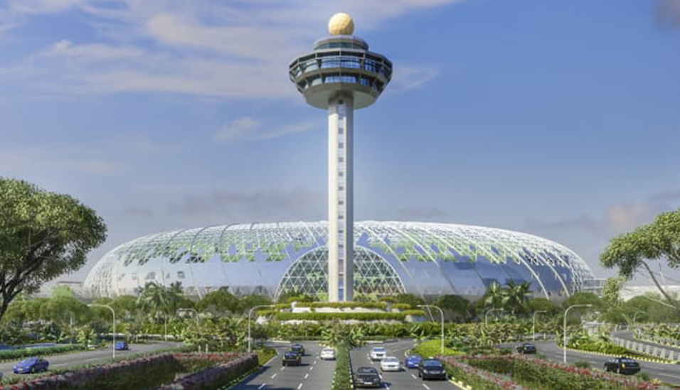 Jewel Changi will connect three of the airport's current four terminals and will have five stories of retail, gardens and restaurants, as well as a hotel with a five-story underground parking lot.
