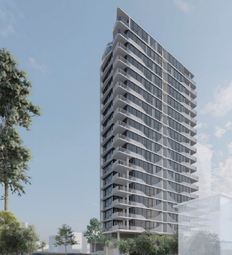 """▲ Artist's impression of Marquee Development Partners' proposed """"slender"""" apartment tower at 17 Federation Avenue, Broadbeach."""