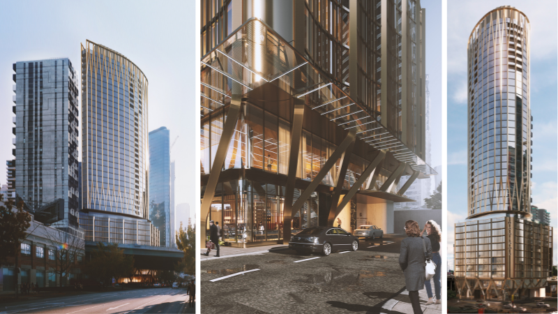 ▲ The curved glass facade and crown on the 40-storey building will punctuate Southbank's skyline. Images: Gurner
