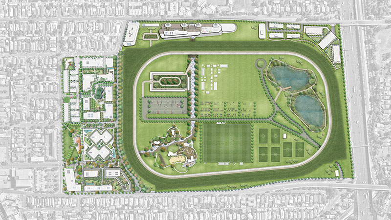 ▲The 18 hectare racecourse infield will be redeveloped into a number of areas featuring a running track, giant children's playground, and spaces for community and curated events such as farmers markets and flower shows. Image: Supplied