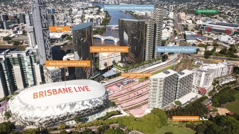 """""""Plans for the 18,000-seat """"Brisbane Live"""" entertainment arena are underway."""""""