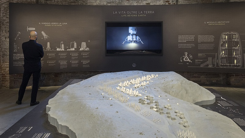 The Moon Village model on display in Venice shows capsules and infrastructure on a lunar surface.