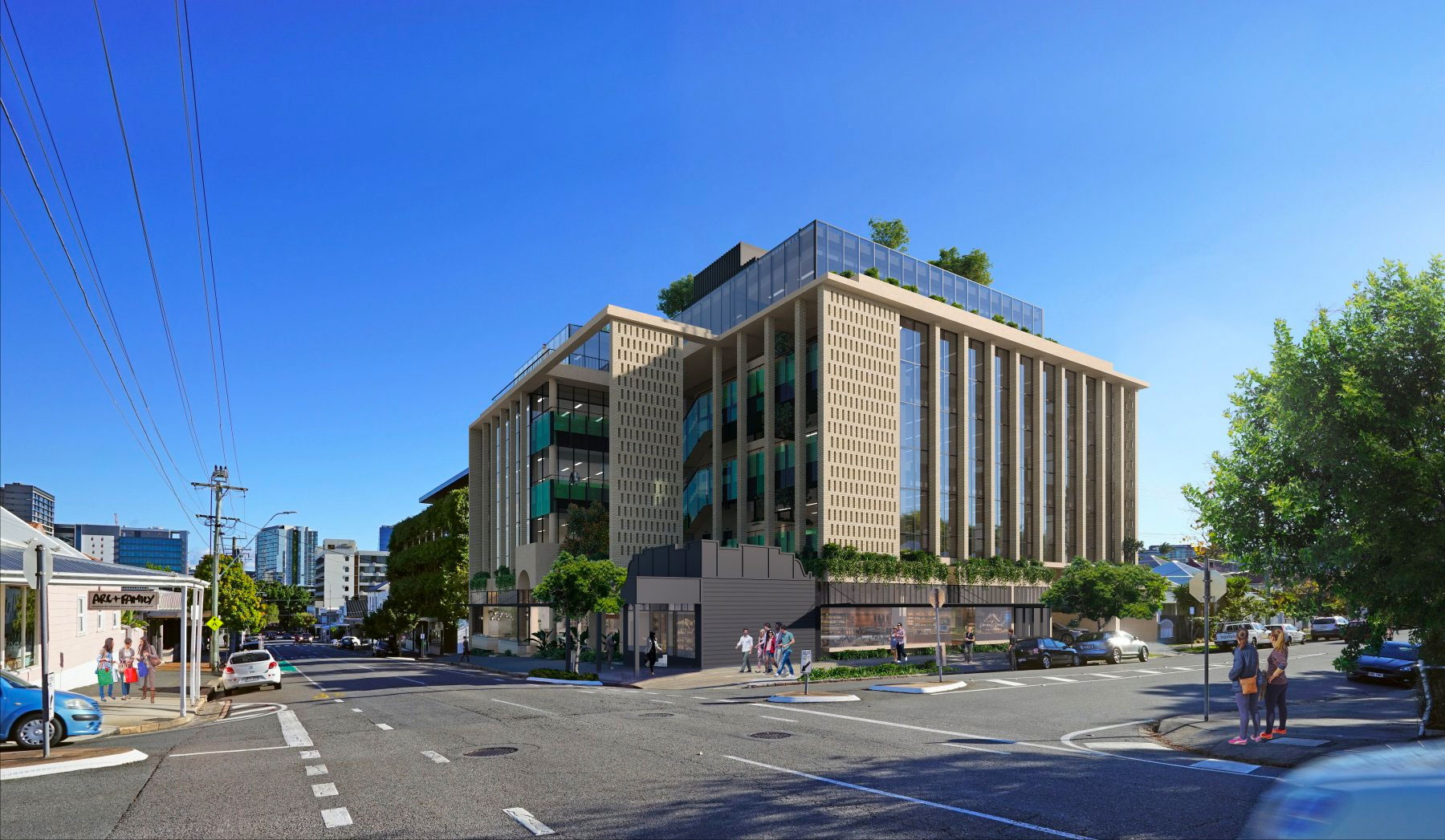 External render of the proposal for 72-76 James Street and 232 Harcourt Street in Fortitude Valley.