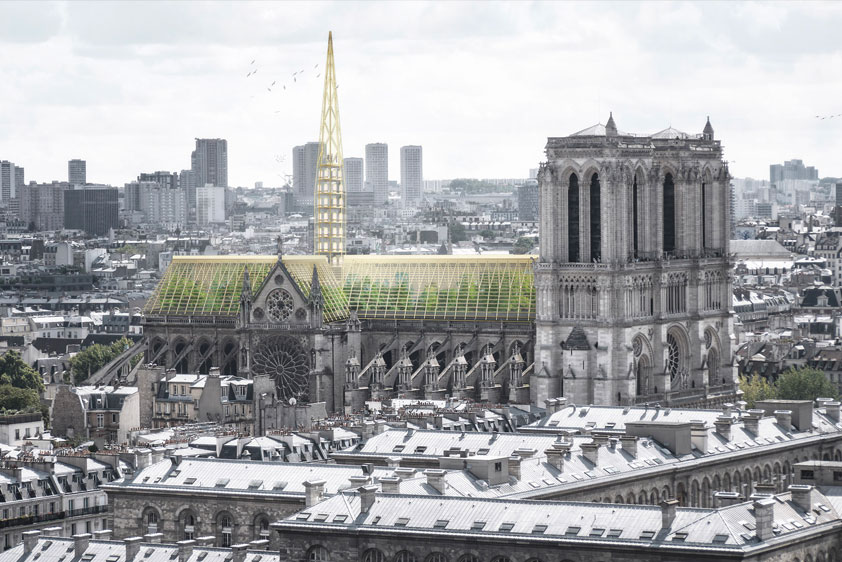 """Paris-based Studio NAB has proposed a giant greenhouse claiming that the rebuilt cathedral should be """"adapted to issues of our time""""."""