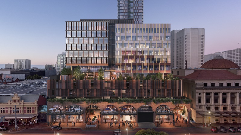 Render of the new Adelaide Central Market with its arched atrium on the lower levels and premium office, hotel and residential space above.