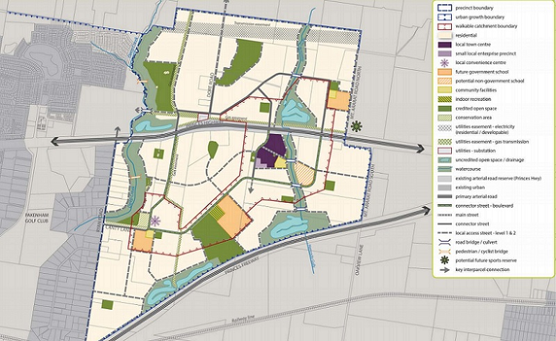The Pakenham East concept plan shows 7,200 homes, four schools, retail spaces and 22 MCGs worth of parkland.