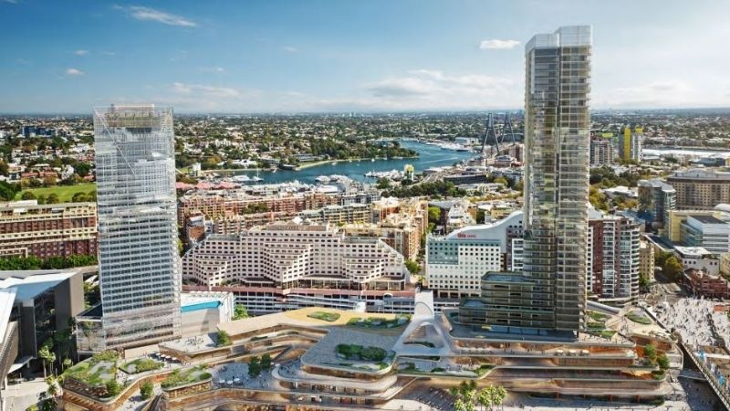 ▲ Earlier plans for the Harbourside Shopping Centre redevelopment show the tower closer to the bridge.