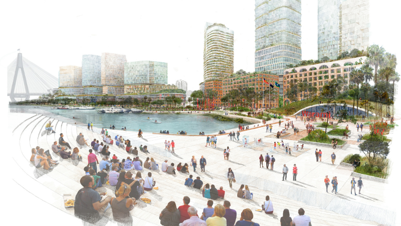 ▲ An artist's impression of the proposed Blackwattle Bay Precinct. Image: NSW Government
