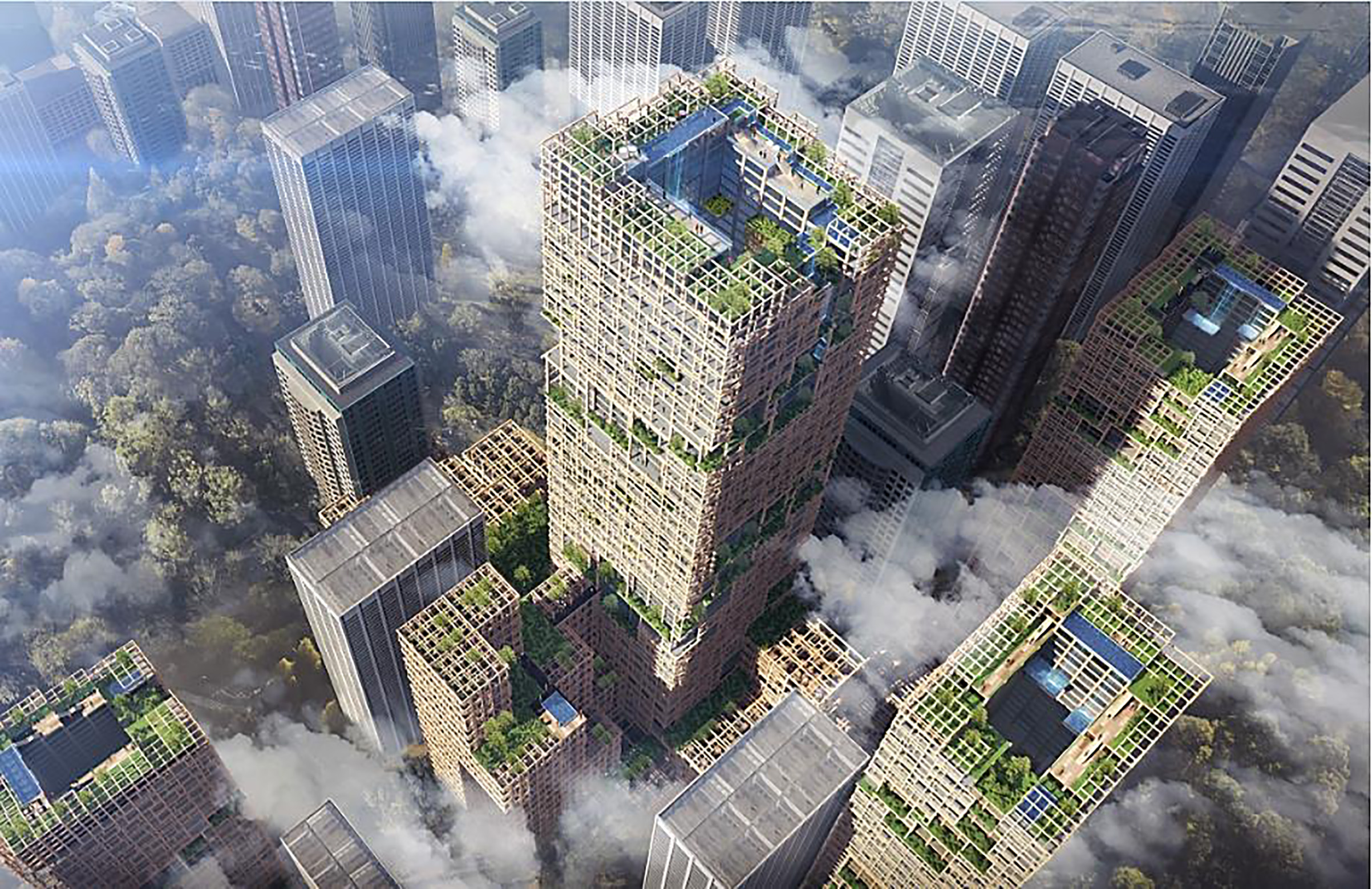 Previously neglected materials such as wood have become major elements of trendy newly-built landmarks, adding new nature-oriented features to skylines all over the globe. Photo: Sumitomo Forestry's proposal for the world's largest timber skyscraper.