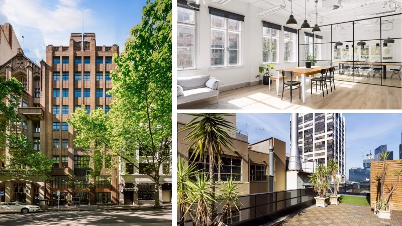 ▲ The refurbished nine-storey Commercial Union Chambers at  411 Collins Street, Melbourne has basement parking and rooftop spaces.