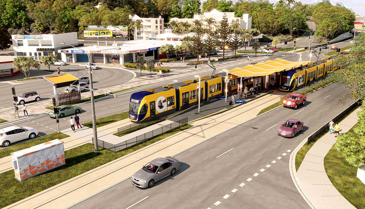 A number of major Gold Coast development projects have been built along the Gold Coast Light Rail Stage 3 route, now recognised as an urban regeneration spine.