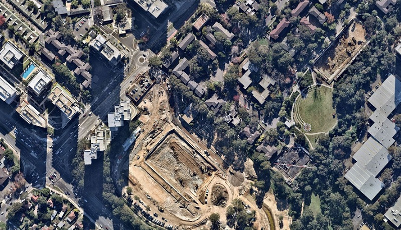 Aerial of Eco World's development located next to Frasers Property's under construction MacPark.