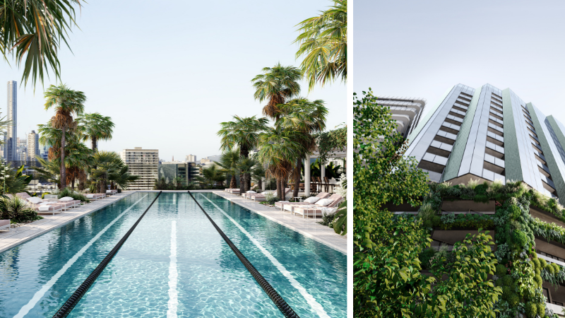 ▲ Plans for 'Italian Club' include a slender serrated glazing facade with a 25m pool on the rooftop.
