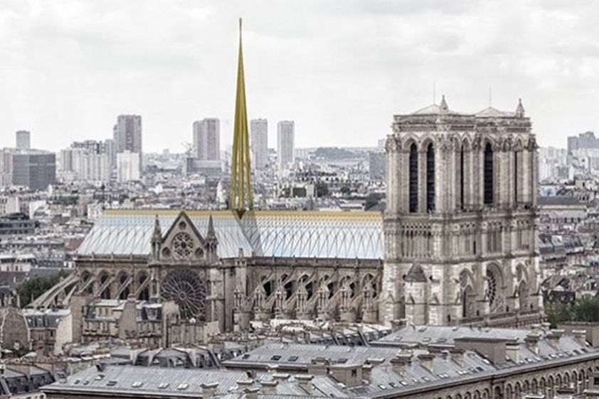 A proposal for the renovation of the Cathedral of Notre-Dame by the French architect firm Godart + Roussel Architectes.
