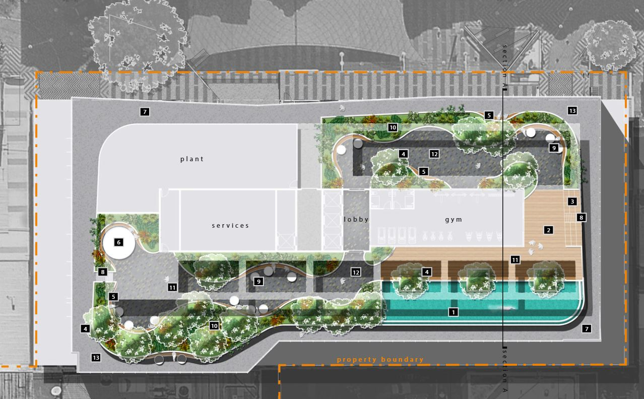 The rooftop landing will include a functional outdoor entertainment area available to all staff of the building, featuring a pool and pool deck, private gym, recreation deck and a running track to the edges of the roof top floor plate.