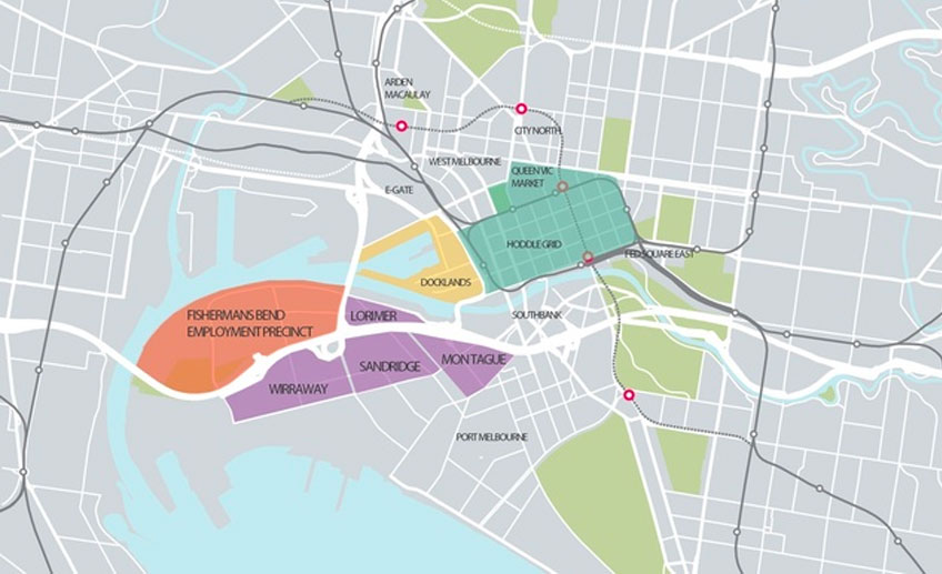 The Fishermans Bend renewal area as laid out in the Fishermans Bend Draft Framework.