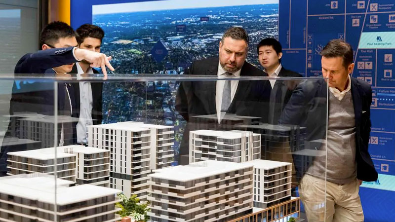 A model of Poly's Spring Square in Bankstown being showcased at a launch in November.