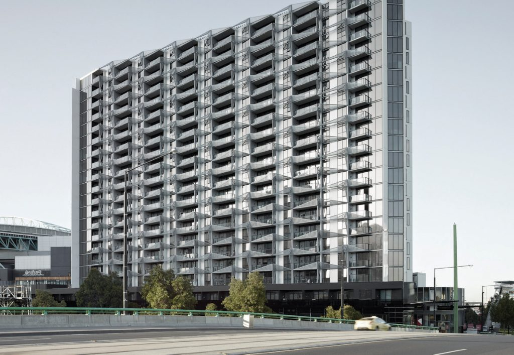 ▲  The polyethylene-core panels used at Lacrosse in Melbourne allowed a fire to race up 13 levels of the 21-storey building in 10 minutes in November 2014.