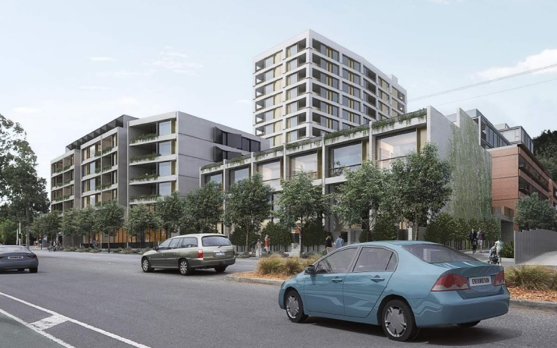 Renders for multiple buildings along Park Road, Brunswick from three storey to eight-storey. with cars and trees outside.