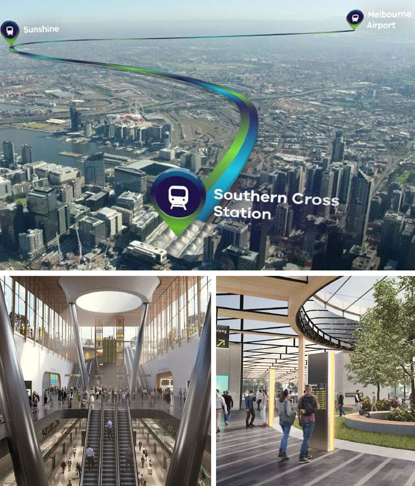 The proposed route for the Melbourne Airport Rail Link (top), the proposed Melbourne Airport station (bottom left) and proposed Sunshine Station (bottom right).