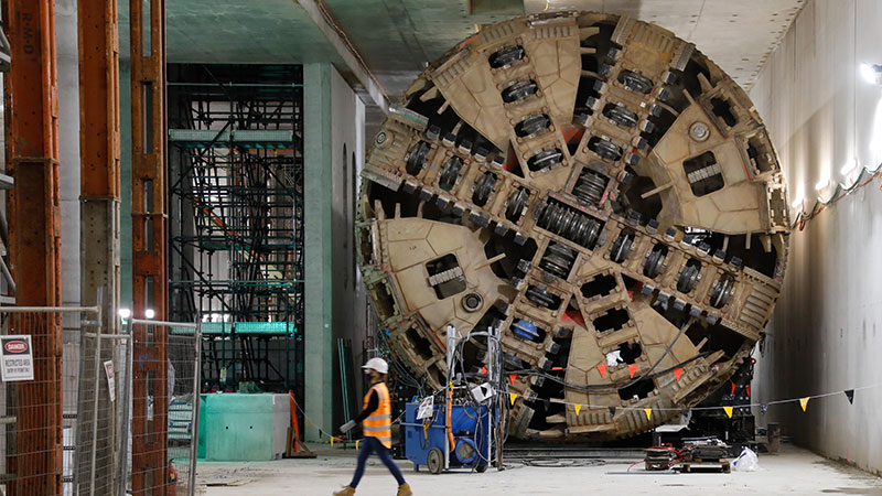 ▲ The tunnel boring machine which has started between the Parkville Station site towards the new State Library Station site. Melbourne Metro project