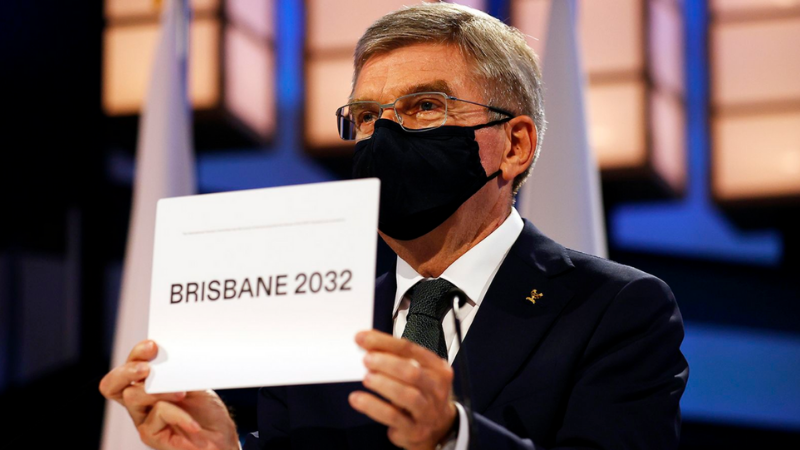 ▲ President of the International Olympic Committee Thomas Bach announces Brisbane as the 2032 Summer Olympics host city. Image: Getty