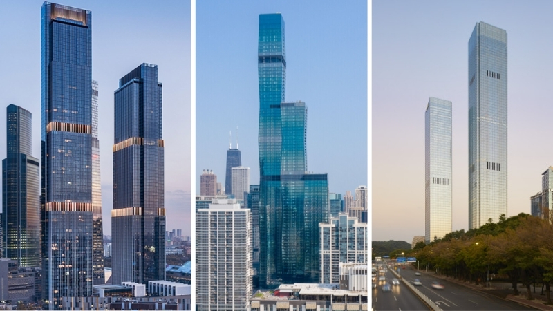 The Neva Towers 2 in Russia, St. Regis Chicago in the United States and Shum Yip Upperhills Tower 1 in China.