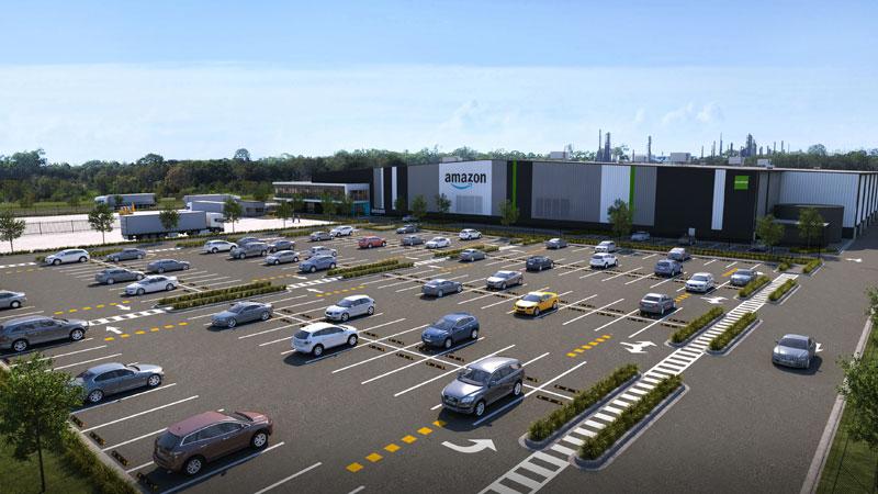 ▲ An artist rendering of a new multi-million-dollar Amazon distribution centre in Lytton.