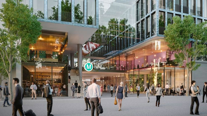 ▲ The NSW government said the third batch of projects could create up to 30,000 jobs. Image: Artist's impression of the over-station tower slated for Victoria Cross station in North Sydney