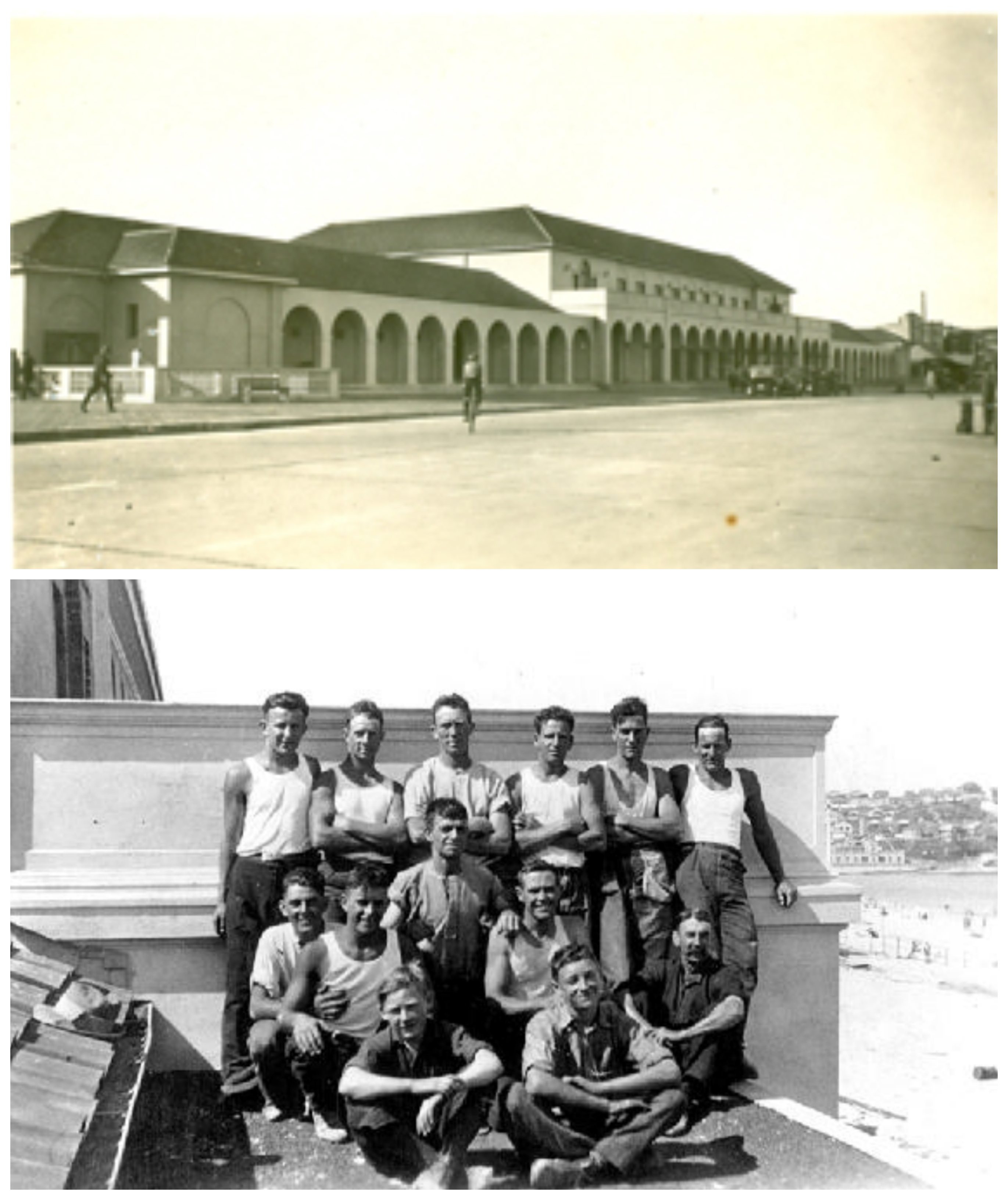 Early image of Bondi Pavilion. Below: Council workers building the Pavilion in 1928.