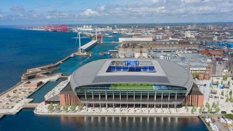 An artist's impression of Everton FC's new £500m stadium. Photograph: Everton FC/PA