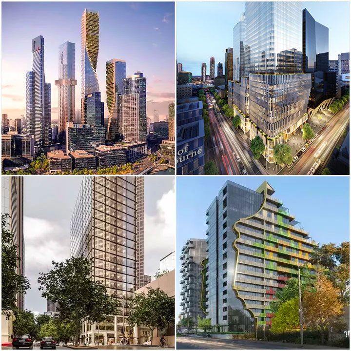 ▲ Southbank by Beulah (top left), 555 Collins Street (top right), 52-60 Collins Street (bottom left) and 550 Epsom Road (bottom right).