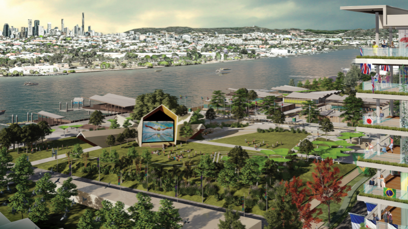 ▲ An artist's impression of the Athletes Village proposed at Northshore Hamilton. Image: Qld Government