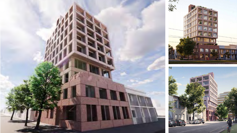 ▲ The proposed nine-storey student accommodation tower is positioned close to public transport and opposite the Australian Catholic University. Images: Hassell
