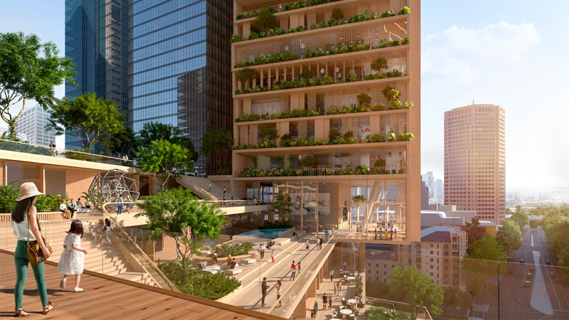 ▲ The residential tower will reach 356m and be crowned by a publicly accessible botanic garden.  Opposite will sit a shorter 252m high tower that will house commercial offices, a hotel, restaurants and bars. Image: UNStudio & Cox Architecture.