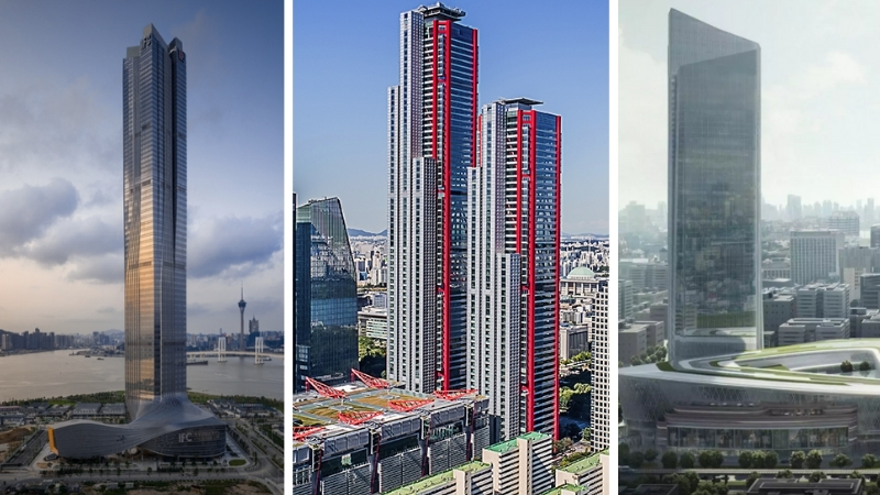 The Hengqin International Finance Center in China, Parc1 Tower I in South Korea and Heartland 66 Office Tower also in China.