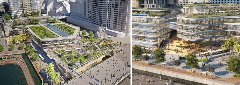 ▲ The latest Harbourside Shopping Centre plans show the podium height alongside the bridge has dropped along with other public spaces along the Darling Harbour development.
