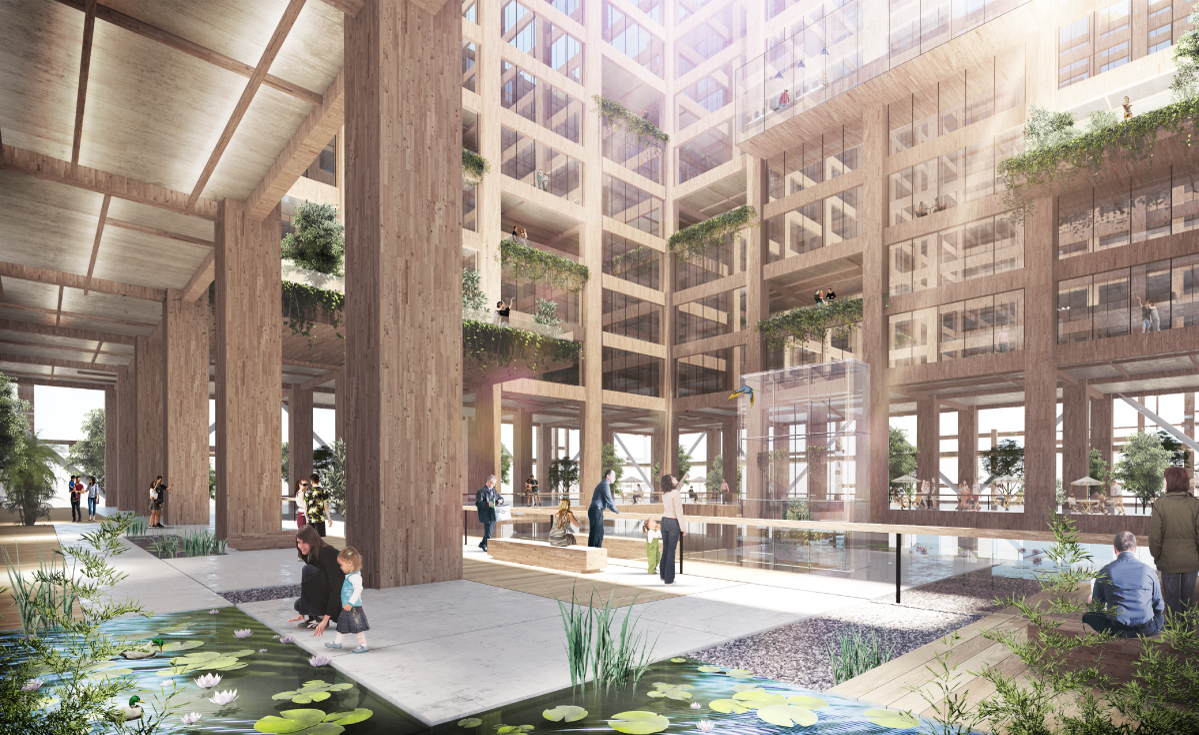 The interior structure, with 455,000 sq m of floor space, will be made entirely of wood. Renderings show light-filled apartments, offices and shops.