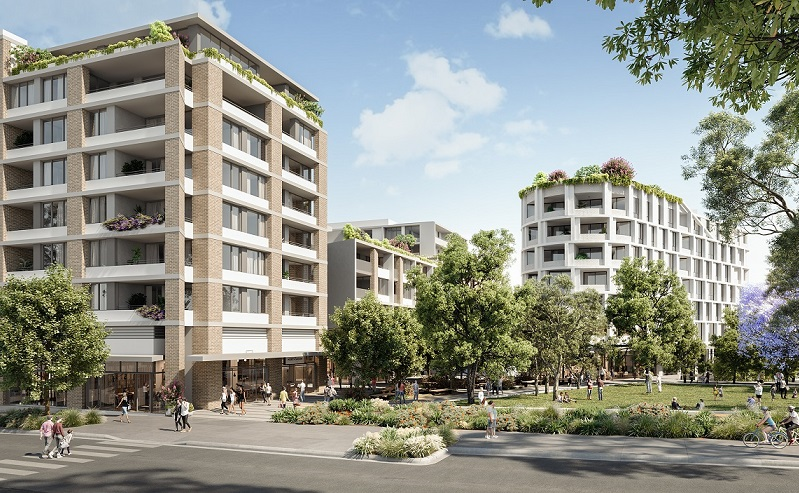 The Tallawong Village proposed development includes white and blonde brick buildings up to eight storeys tall next to the railway station.